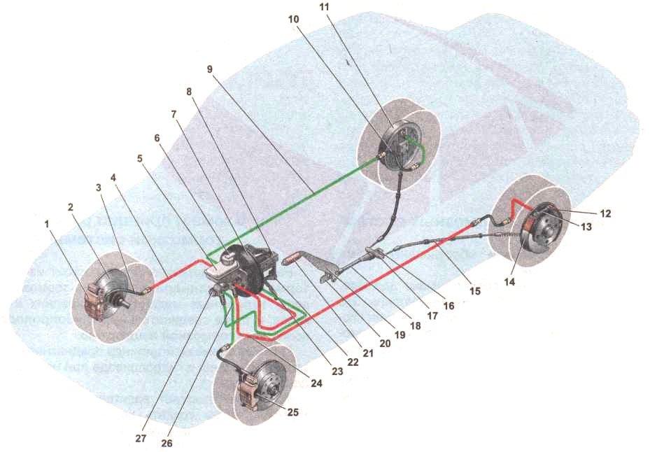 Устройство тормозной системы Дэу Нексия